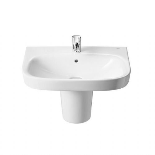 Roca Debba Square Basin With Semi Pedestal - 550mm - 2 Tap Hole - White